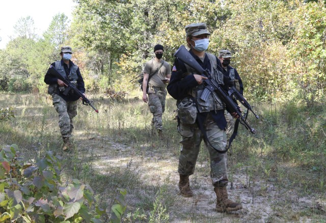 Cadets from Marquette University's Golden Eagle Battalion ROTC program serve as the opposition forces for other cadets conducting tractical training at Fort McCoy, Wis., Sept. 25, 2020. Training such as this helps to prepare the cadets to meet future challenges on the path to becoming a U.S. Army officer.