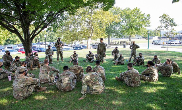 The planning for Honorable Living Day was heavily led by cadets to include the Respect Captain and the Equity, Diversity and Inclusion team. Ideas were generated from a survey given to returning cadets when they arrived at West Point during Cadet Leadership Development during the summer. (Above) One of the things to come from all of it is the tree talks sessions where cadets held open, honest discussions about how to live honorably.