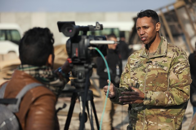 U.S. Army Col. Myles B. Caggins III, Combined Joint Task Force - Operation Inherent Resolve spokesperson, responds to interview questions at Al Asad Air Base, Iraq, Jan. 13, 2020.