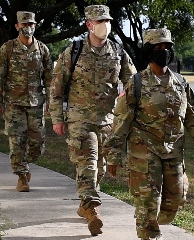 Army Reserve Pfc. Okan Pekgil arrives at Joint Base San Antonio, Texas, July 28, 2020. Okan, a combat medic from San Francisco, mobilized with Urban Augmentation Medical Task Force -7452 to support DHR Health in Edinburg, Texas, as part of the Department of Defense assistance to the Federal Emergency Management Agency response to the COVID-19 pandemic.