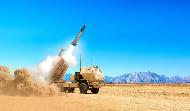 An artist rendering shows the launch of a Precision Strike Missile, which has a range up to 500 kilometers. The Army is seeking a new mid-range missile system that can hit targets between 500 to 1,500 km to help fill a gap in its fires portfolio by 2023.