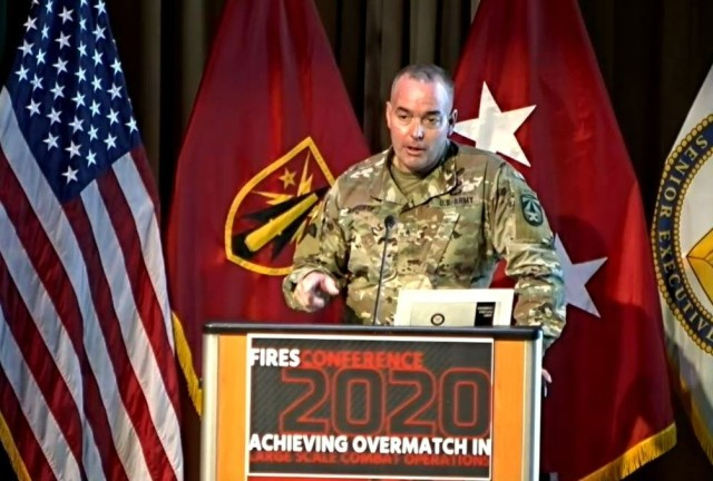 Brig. Gen. John Rafferty, director of the Long-Range Precision Fires Cross-Functional Team, speaks during the Army Fires Conference at Fort Sill, Okla., Sept. 29, 2020.