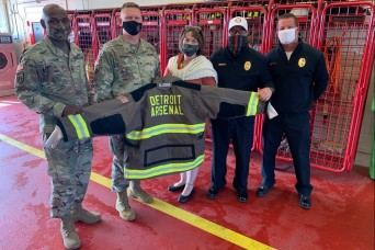 Brig. Gen. Darren Werner tours Detroit Arsenal Fire Department