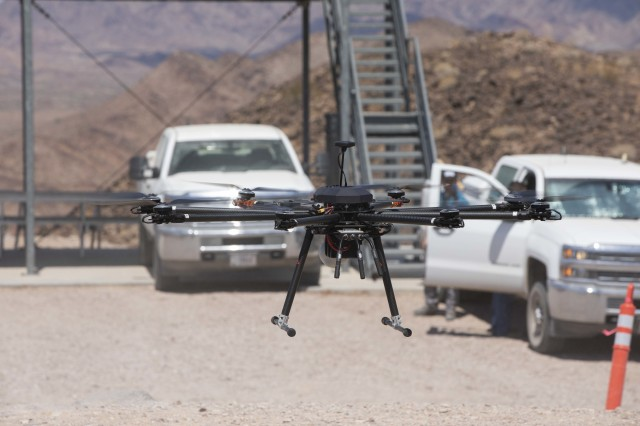 The TAROT drone conducts a practice run during the Project Convergence capstone event at Yuma Proving Ground, Arizona, Aug. 11 – Sept. 18, 2020. Project Convergence is the Army's campaign of learning to aggressively advance solutions in the areas of people, weapons systems, command and control, information, and terrain; and integrate the Army's contributions to Joint All Domain Operations. (U.S. Army photo by Spc. Carlos Cuebas Fantauzzi, 22nd Mobile Public Affairs Detachment)