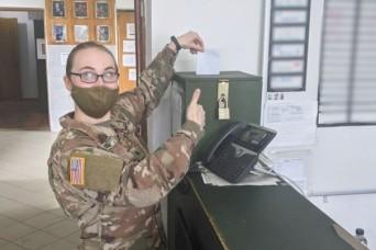 Task Force Illini Soldiers deployed overseas cast absentee ballots