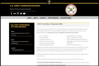 Early Return of Dependents procedures now available online for USAG Bavaria service members