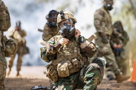Soldiers conduct chemical, biological, radiological and nuclear training at Kahuku Training Area, Hawaii, Aug. 20, 2020.