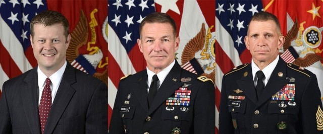 From L to R: Ryan D. McCarthy, Secretary of the Army; James C. McConville, General, United States Army; Michael A. Grinston, Sergeant Major of the Army