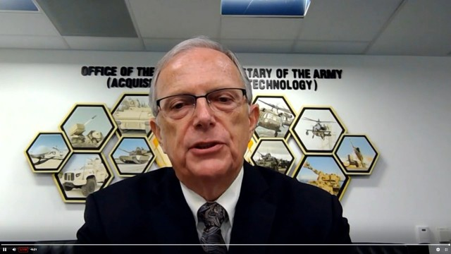 Bruce Jette, assistant secretary of the Army for acquisition, logistics, and technology, discusses the Army's plans to upgrade its manufacturing facilities while improving safety at the 2020 Association of the U.S. Army Annual Meeting and Exposition on Oct. 13, 2020.