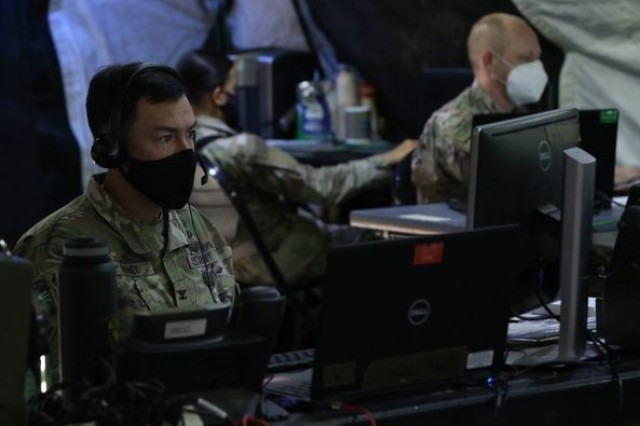 Over the past week and a half, Troopers from the 1st Cavalry Division conducted a Warfighter exercise in order to ensure the integration and readiness of the division staff, as well as test the command post systems and processes for future operations. Wagonmaster 6, Col. Patrick Disney, and Troopers from 1st Cav. Div. Sustainment Brigade were the main sustainers for the exercise. Photo by: 1st Cav. Div. Sustainment Brigade