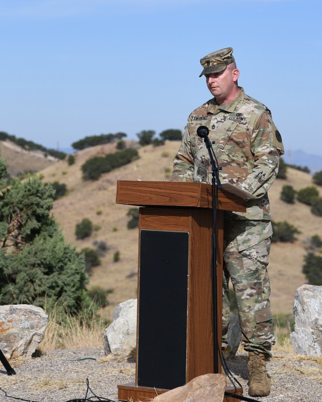 """Sfc. James """"Jim"""" Van Sickle, Apache Ridge Family Clinic NCOIC, narrates the Pregnancy and Infant Loss event on Ft. Huachuca, Arizona. This was only the second year the event has been held on post."""