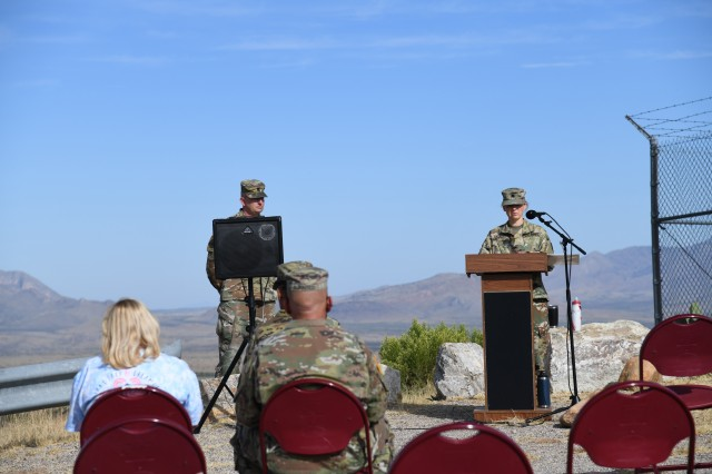 Lt. Col. Devin Y. Cazares, Raymond W. Bliss Army Health Center Chief of Preventive Medicine, tearfully shared her experience with miscarriage during the 2nd Annual Pregnancy and Infant Loss Awareness event on Ft. Huachuca, Arizona.