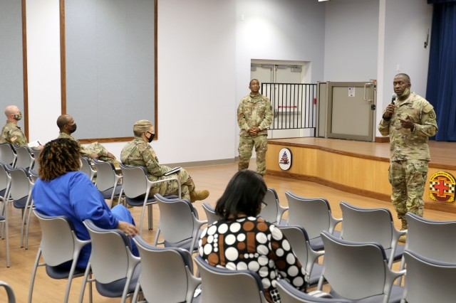 The Surgeon General of the Army and Commanding General for U.S. Army Medical Command (MEDCOM), Lt. Gen. R. Scott Dingle and MEDCOM Command Sgt. Maj. Diamond Hough host a professional development opportunity Sept. 28 as part of their visit to Fort Stewart-Hunter Army Airfield Sept. 28-29.
