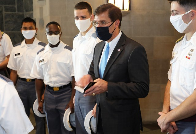 Before Secretary of Defense Honorable Mark Esper spoke to the Class of 2021 Cadets about current affairs with Russia, China and U.S. allies, he met with cadet leadership from various classes during a lunch meeting.