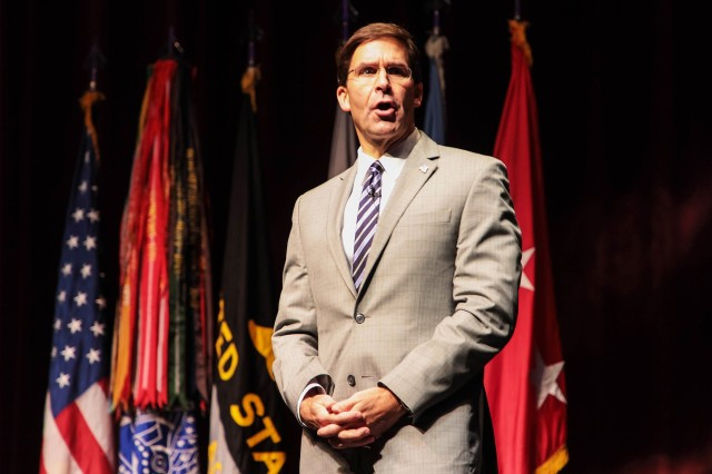 Secretary of Defense Honorable Mark Esper, U.S. Military Academy Class of 1986, visited West Point Friday and Saturday. Esper discussed current affairs with Russia, China and U.S. allied partners with the Class of 2021 Cadets in Eisenhower Hall Theatre.