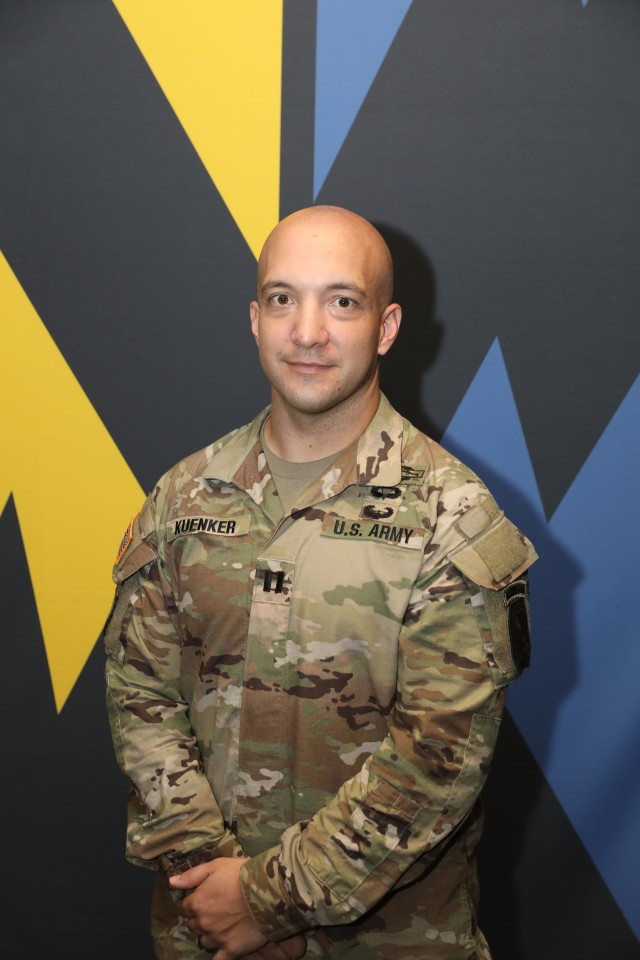 Capt. Sam Kuenker will join 27 other Soldiers, captains and warrant officers, at the Pentagon Oct. 21 to receive the Gen. Douglas MacArthur Leadership Award for 2019.