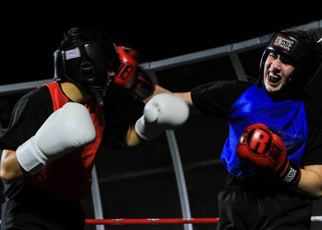 Class of 2021 Cadet Sidney Sandburg fought to a victory against Class of 2023 Cadet Ruby Romsland in a fast-paced bout during the annual Army Boxing Rumble exhibition event at West Point Friday. Eighteen competitors fought in weight classes ranging from super featherweight (132 pounds) to heavyweight (over 201 pounds).