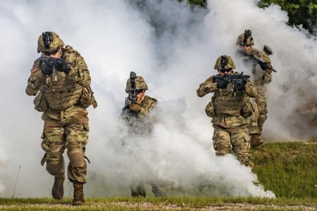 Soldiers participate in a squad demonstration at Fort Benning, Ga., Aug. 21, 2020.