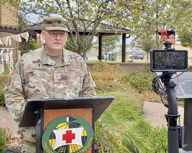 Blanchfield Army Community Hospital Chaplain, Maj. Todd Morrison, shares words of comfort during a virtual remembrance Oct. 15 for families who have experienced pregnancy and infant loss. The event, known as Footprints on Our Heart, coincided with Pregnancy and Infant Loss Remembrance Day. The event may be viewed on the hospital's Facebook page available at https://www.facebook.com/BACH.Fort.Campbell/videos/360872835112308.