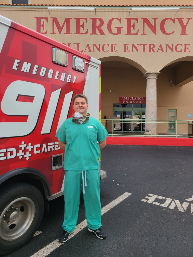Spc. Duncan Crow, an Army Reserve combat medic from Semmes, Alabama outside the emergency department of DHR Health in Edinburg, Texas, August 31, 2020. Crow mobilized with the Urban Augmentation Medical Task Force-7452 to support the South Texas hospital as part of the Department of Defense assistance to the Federal Emergency Management Agency in support of the whole-of-America COVID-19 response.