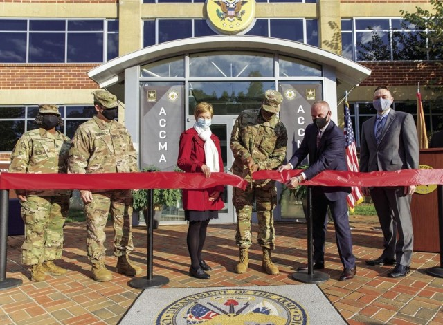 From left: acting Garrison Command Sgt. Maj. Michel Fraser; Col. Josh SeGraves, Garrison comander; Carol Burton, Director, Civilan Human Resources Agency; Lt. Gen. Gary Brito, Deputy Chief of Staff, G-1; Dr. Todd Fore, Deputy Assistant Secretary of the Army (Civilian Personnel); Edward Emden, director, The Army Civilian Career Management Activity. ACCMA was created to modernize and broaden the 32 civilian career programs into 12 career fields.