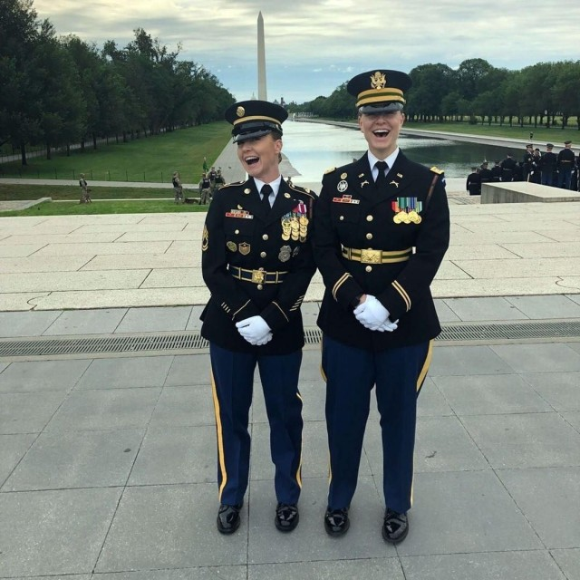 Sgt. 1st Class Chelsea Porterfield, left, and Capt. Tessa Knight became close friends after serving as platoon leaders in The Old Guard in 2018. Knight helped Porterfield cope with recovery from having suicidal thoughts.