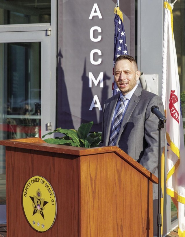 Edward Emden, director, Army Civilian Career Management Activity (ACCMA), addresses the audience at the organiztion's ribbon cutting, Oct. 1. ACCMA will modernize and broaden the 32 civilian career programs into 12 career fields.