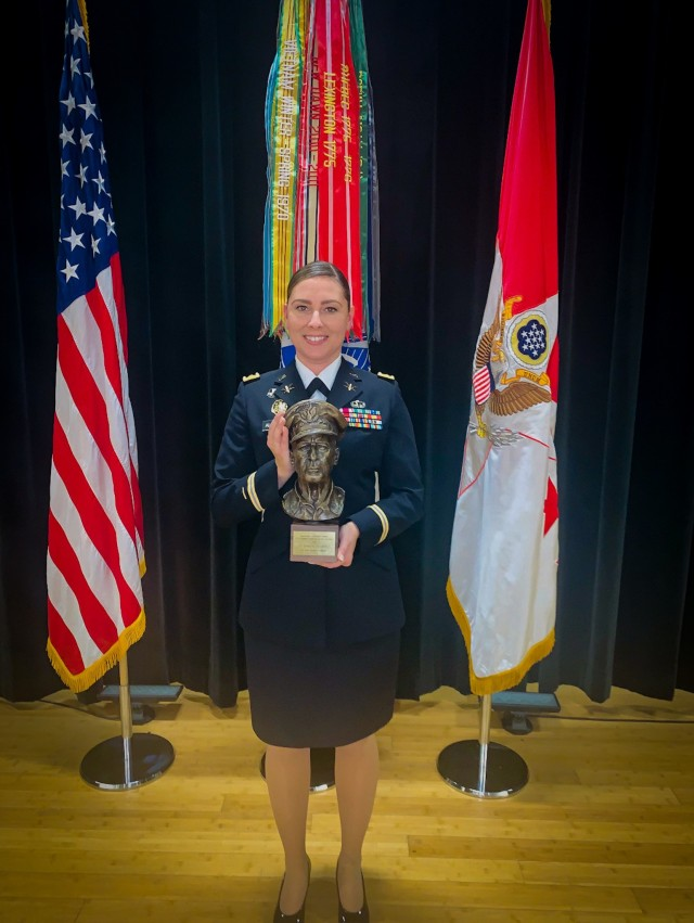 U.S. Army Reserve Maj. Erika Alvarado who received the Gen. Douglas MacArthur leadership award poses for a photograph during a ceremony Oct. 21, 2020, at the Pentagon, Washington, D.C.