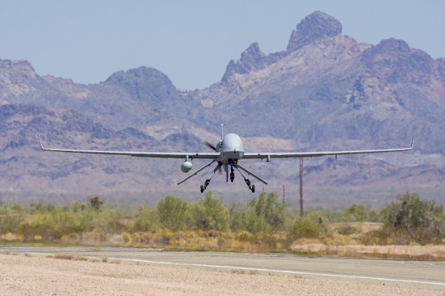 An Extended Range Multipurpose Unmanned Aircraft System returns from functional testing during Project Convergence 20 at Yuma Proving Ground, Ariz., Sept. 15, 2020. The ER/MP UAS autonomous weapons systems have the capacity to carry multiple payloads while delivering precise attacks against enemy forces.