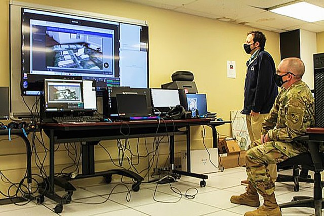 Lt. Col. Chris Johnes, the director of the West Point Simulation Center, and a representative from the Penn State Applied Research Lab are participating with three companies Oct. 7 through video chat as they present 40-minute deep dives giving detailed information on what their virtual reality products are doing.