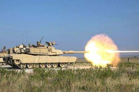 Soldiers fire the Army's new M1A2 SEPv3 tank at Fort Hood, Texas, Aug. 18, 2020.