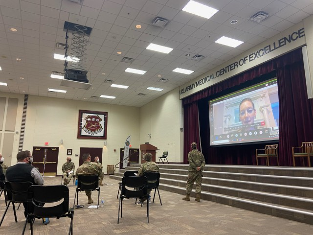 The U.S. Army Medical Center of Excellence hosted a Leader Professional Development session on the Foundations of Leadership, October 28, 2020.  The event was attended by nearly 100 virtual and in-person attendees, using COVID-19 mitigation measures, in Blesse Auditorium on JBSA-Fort Sam Houston, Texas.