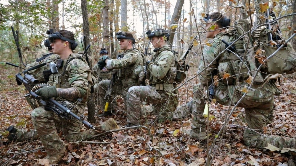 In a November 2019 photo, Soldiers at Fort Pickett, Va., wear the Integrated Visual Augmentation System, or IVAS, a head-mounted, high-tech goggle that gives Soldiers a wealth of real-time battlefield information. The IVAS is one of three items the Army is working with industry to develop to give its troops a winning edge in close combat. The other items are a night-vision goggle-binocular, and a more lethal rifle. All three are highlighted in a video by members of the Army's Soldier Lethality Cross-Functional Team.