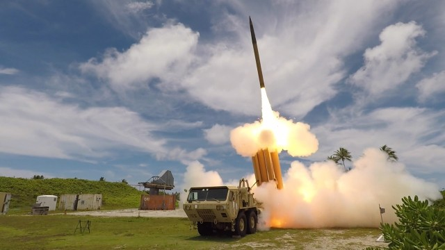 A THAAD interceptor is launched from the Reagan Test Site, Kwajalein Atoll in the Republic of the Marshall Islands, during Flight Test THAAD-23.