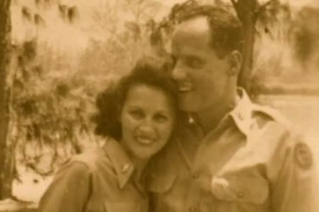 Army 2nd Lt. Regina Benson, a member of the Army Nurse Corps, poses for a photo with her soon-to-be husband, Bill Benson, 1944.
