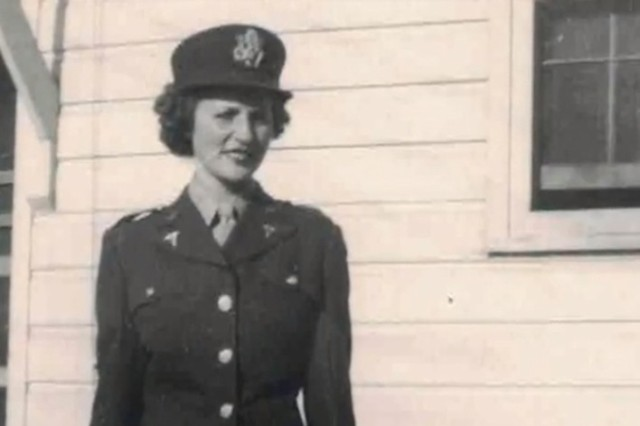 Army 2nd Lt. Regina Benson, a member of the Army Nurse Corps during World War II, poses for a photo, 1944.