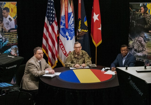 Lt. Gen. (Ret.) Thomas Bostick (right) joins Lt. Gen. Ted Martin, Deputy Commanding General and Chief of Staff of U.S. Army Training and Doctrine Command (middle) and Jim Hoeft, Chief of Command Information, TRADOC Communication Directorate at the 2nd leader professional development webinar held at Fort Eustis, Va., Oct. 22, 2020. This webinar focused on how talent management relates to military and civilian careers; mentorship and diversity and inclusion. (U.S. Army courtesy photo).