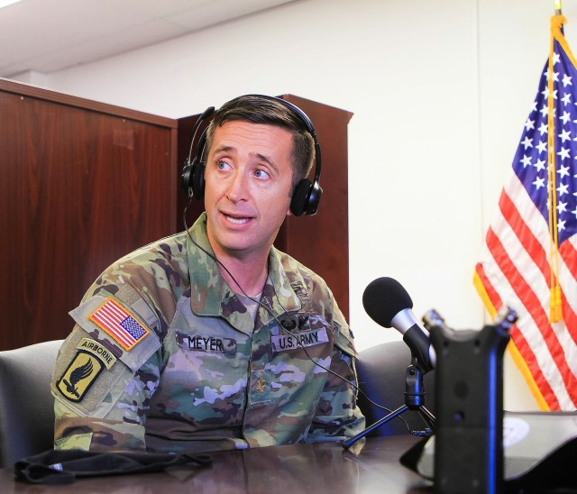 Maj. John Meyer, the Officer Chief Legislative Liaison (OCLL) at the Pentagon, discusses his experience during his deployment to Afghanistan in an interview at West Point for the syndicated Podcast, the Sphere, on Oct. 22. In July 27, 2007, Meyer conducted patrols along the mountainous Afghanistan valley, near Kunar Province, when a firefight broke out between Meyer's Bulldog troop and enemy insurgents.