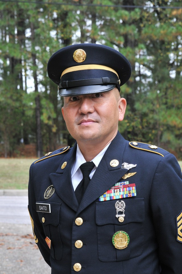 Sgt. 1st Class Allen Saito, instructor, Logistics Noncommissioned Officer Academy, helped to save the life of an elderly man during an Oct. 17 funeral service. Saito and two other Fort Lee Soldiers were assigned to a funeral detail in Lawrenceville, Brunswick Coounty.