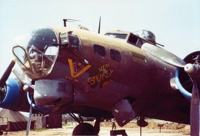 This Douglas B-17 Flying Fortress carried Army 2nd Lt. Robert Femoyer on the mission that would earn the navigator the Medal of Honor in 1944. As part of the 711th Bombardment Squadron, 447th Bombardment Group out of Royal Air Force Rattlesden in Suffolk, England, the bomber later went by the name Lucky Stehley Boy.