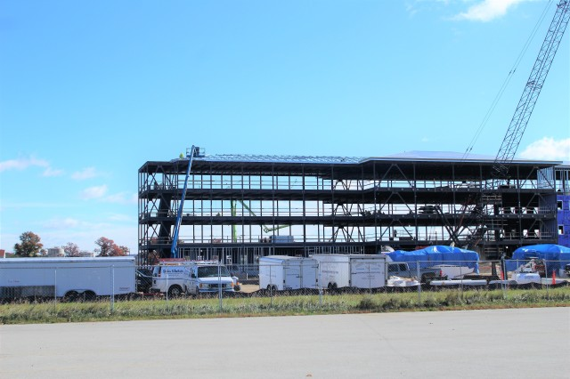 An area of the 1600 block of the cantonment area of the installation is shown Oct. 15, 2020, where a new multi-million dollar barracks is being built at Fort McCoy, Wis. Contractor L.S. Black Constructors was awarded a $20.6 million contract to build the barracks in September 2019. The planned completion date is currently August 2021. The planned barracks will be different than the traditional barracks that are located throughout the installation. This new building will be four stories and be able to house 400 people in approximately 60,000 square feet. The project also is the first of eight new buildings planned for the entire 1600 block. The plan is to build three more barracks with the same specifications, three 20,000-square-foot brigade headquarters buildings, and one 160-room officer quarters. This is an Army Corps of Engineers-managed project. (U.S. Army Photo by Scott T. Sturkol, Public Affairs Office, Fort McCoy, Wis.)