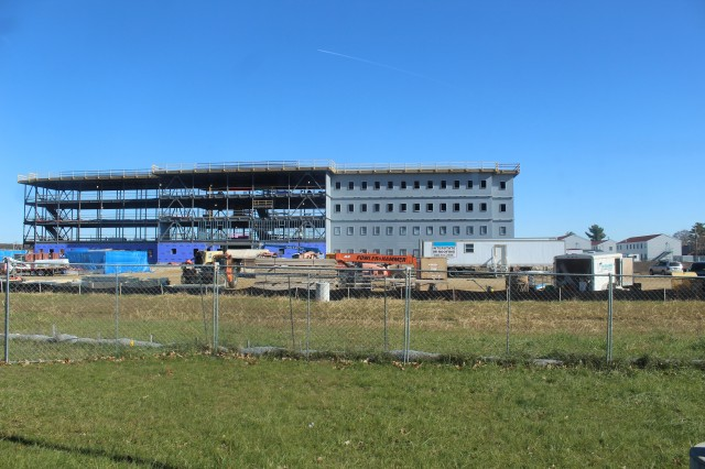 An area of the 1600 block of the cantonment area of the installation is shown Oct. 30, 2020, where a new multi-million dollar barracks is being built at Fort McCoy, Wis. Contractor L.S. Black Constructors was awarded a $20.6 million contract to build the barracks in September 2019. The planned completion date is currently August 2021. The planned barracks will be different than the traditional barracks that are located throughout the installation. This new building will be four stories and be able to house 400 people in approximately 60,000 square feet. The project also is the first of eight new buildings planned for the entire 1600 block. The plan is to build three more barracks with the same specifications, three 20,000-square-foot brigade headquarters buildings, and one 160-room officer quarters. This is an Army Corps of Engineers-managed project. (U.S. Army Photo by Scott T. Sturkol, Public Affairs Office, Fort McCoy, Wis.)