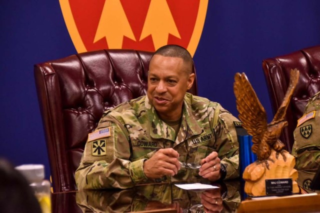 Army Maj. Gen. Clement S. Coward Jr., speaks with 32d Army Air and Missile Defense Command warrant officers during professional development training for leaders in El Paso, Texas, Feb. 7, 2019.