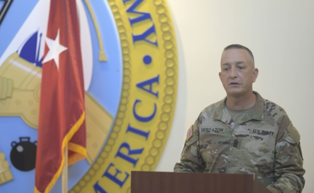 Command Sgt. Maj. Brian T. Bertazon, incoming Command Sergeant Major, Military Intelligence Readiness Command (MIRC), speaks during the Military Intelligence Readiness Command change of responsibility ceremony at Fort Bragg, North Carolina, September 11, 2020. Key guests included, Maj. Gen. A.C. Roper, Deputy Commanding General U.S. Army Reserve Command, Brig. Gen. Robert S. Cooley Jr., Army Reserve Command Chief of Staff, Brig. Gen. Aida T. Borras, Commanding General, Military Intelligence Readiness Command and Chief Warrant Officer 5 Harold (Hal) Griffin III, Command Chief Warrant Officer, U.S. Army Reserve Command (U.S. Army Reserve photo by Staff Sgt. Edgar Valdez)