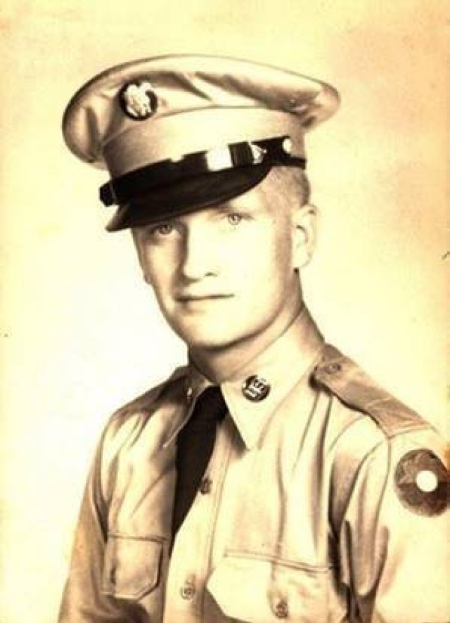 U.S. Army Cpl. Darrell F. Schaub is pictured in his official Army photo before the Korean War. Schaub is the grandfather of Lt. Col. Marcus D. Perkins, commander of the U.S. Army Medical Materiel Center-Korea, a direct reporting unit to Army Medical Logistics Command. (Photo courtesy Lt. Col. Marcus D. Perkins)