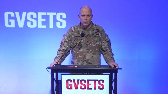 Brig. Gen. Ross Coffman, director of the Next Generation Combat Vehicles Cross-Functional Team, speaks during the Ground Vehicle Systems Engineering and Technology Symposium in Detroit, Mich., Nov. 4, 2020. The Army plans to publish a new solicitation for the Optionally Manned Fighting Vehicle next month.