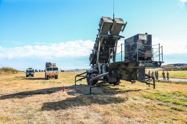 Soldiers with 1st Battalion, 1st Air Defense Artillery Regiment, prepare for a missile reload evaluation at their forward-operating training site, Misawa Air Base, Japan Nov. 3, to demonstrate Air Defense tactical skill proficiency during Keen Sword. Keen Sword is a biennial joint and bilateral exercise involving the U.S. Military and Japan Self-Defense Forces, designed to enhance U.S.-Japan combat readiness and interoperability.