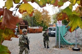 German and American soldiers focus on force protection