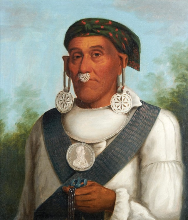 Maj. George Lowry was a U.S. Soldier, law enforcement office, translator and principal chief of the Cherokee Nation. (Artist unknown, oil painting attributed to George Catlin)