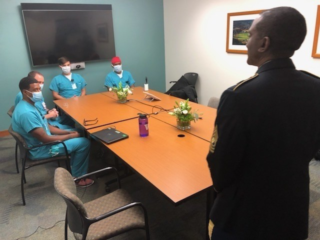 Command Sgt. Maj. Diamond Hough, U.S. Army Medical Command, speaks with students at the military-civilian partnership ceremony with University of North Carolina Health on Nov. 11, 2020.